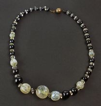 Vintage 1950's Black And White Glass Bead Necklace